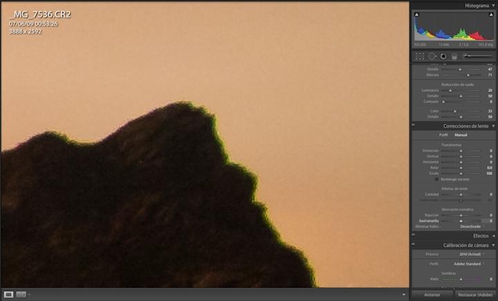 Detalle aberración cromática de la lente