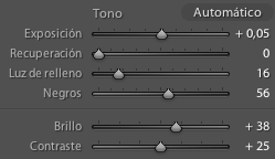 Ajuste del control de brillo en Lightroom