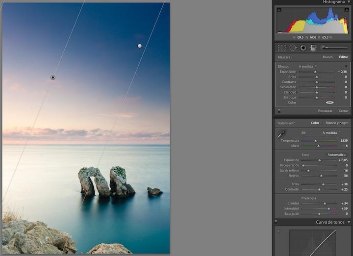 Segundo filtro degradado para oscurecer un poco la zona superior izquierda de la imagen