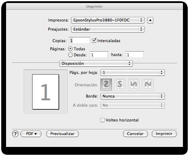 Pantalla del driver de la impresora para imprimir hoja de muestras del Colormunki en Mac OS X