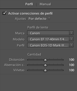 Correccion de perfil de lente