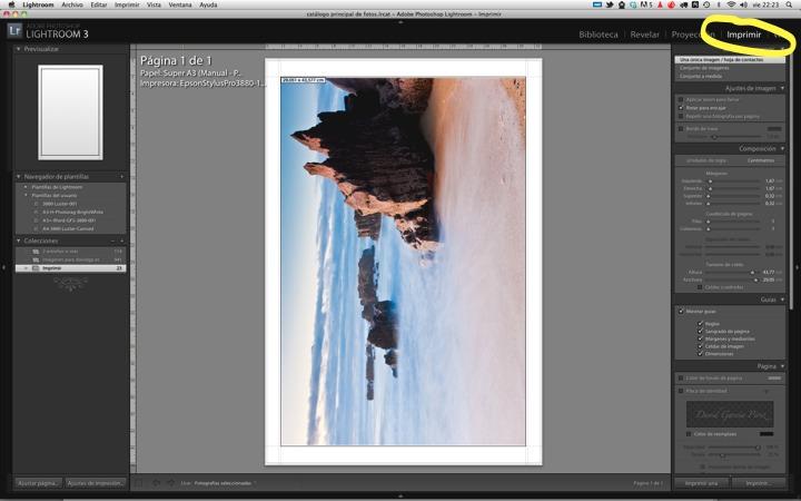 Seleccionando el módulo de impresión de Adobe Lightroom