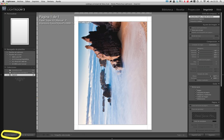 Seleccionando los ajustes de impresión en Adobe Lightroom