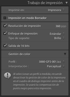 Parámetros críticos para obtener una buena impresión en Adobe Lightroom