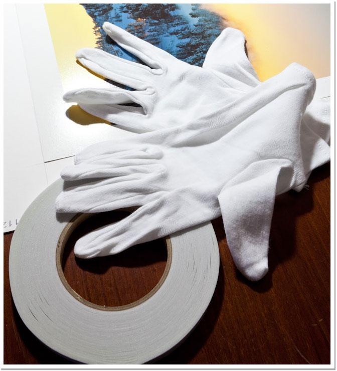 Guantes de algodón y cinta adhesiva de doble cara de ph neutro