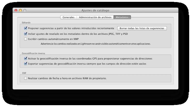 Ajustando que Lightroom no grabe automática en fichero XMP los cambios hechos a una imagen