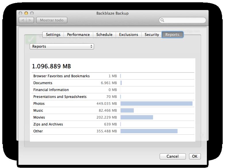 Estadísticas que genera Backblaze de los archivos que ha hecho copia de seguridad