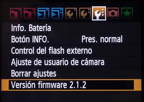 Firmware oficial de canon, v2.1.2, instalado en la cámara