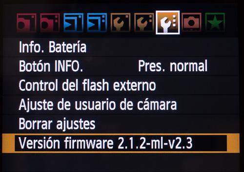 Versión 2.3 de Magic Lantern instalada en la cámara