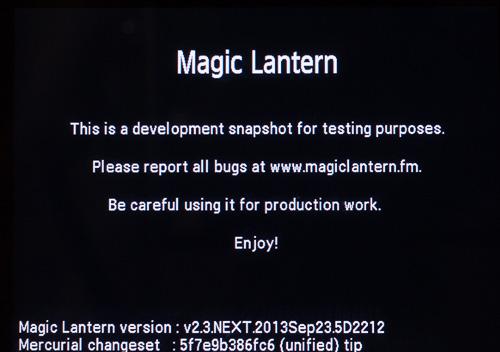 Versión del 23 de Septiembre de Magic Lantern