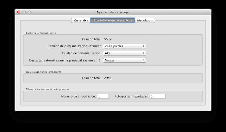 Opciones para las previsualizaciones de archivos en Lightroom