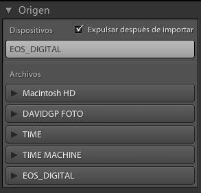 Seleccionando el origen para importar fotos en Adobe Lightroom
