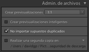 Opciones que Lightroom efectúa sobre los archivos a la hora de importar