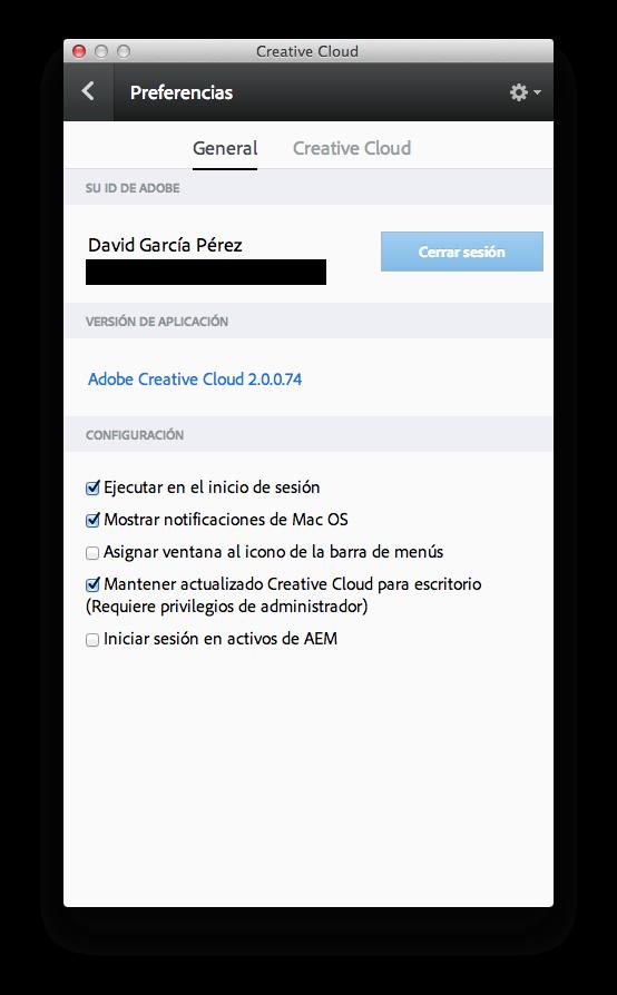 Cerrar sesión de creative cloud