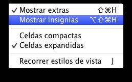 Configuración sin mostrar insignias
