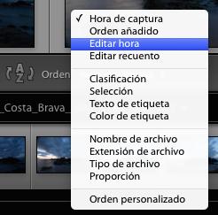 Distintas opciones para ordenar las imágenes mostradas con Lightroom