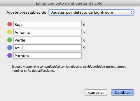Nombres de las etiquetas de color de Lightroom