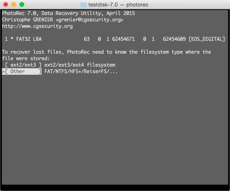 Seleccionando tipo de sistema de ficheros