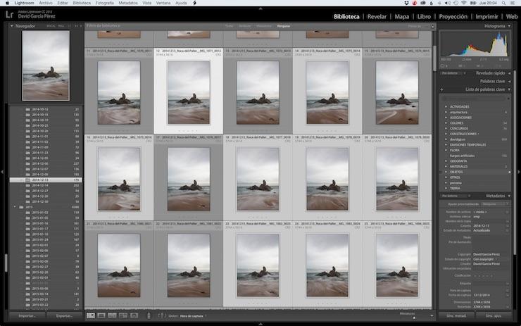 Seleccionando imágenes en el módulo cuadrícula de Lightroom