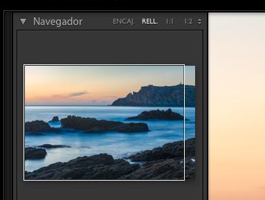 Lightroom, navegador en modo rellenar, como se observa se nos muestra un rectángulo que nos permite ver que región de la imagen se nos está mostrando.