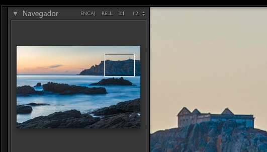 Lightroom, navegador en modo lupa 1:1, como se observa se nos muestra un rectángulo que nos permite ver que región de la imagen se nos está mostrando.