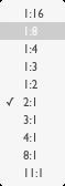 Selector en el navegador de Lightroom de los distintos tamaños de zoom.