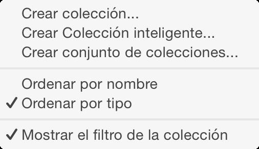 Opciones para añadir colecciones al panel de colecciones