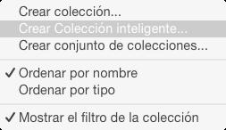 Menú para crear colecciones inteligentes.